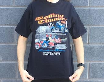 Vintage POW MIA Rolling Thunder VIII Motorcycle Rally Washington D.C. T-shirt