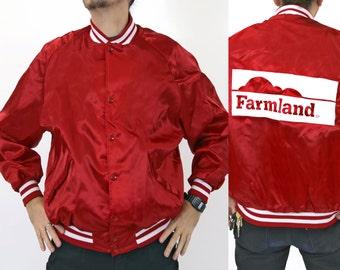 Vintage 1980s FARMLAND Baseball Style Red Jacket
