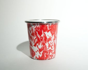 Vintage Metal Enameled Marblized Red & White Cup