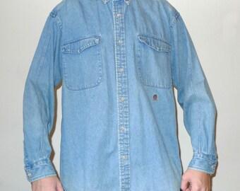 Vintage 1990s Long Sleeve TOMMY HILFIGER Denim Button Up Shirt M