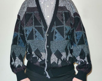 Vintage Navajo / Memphis Geometric Pattern Knit Cardigan Cool Colors