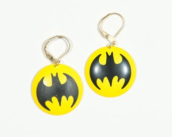 Vintage Deadstock 1960s Batman Logo Gold Dangle Earrings