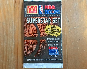 Vintage New Old Stock 1992 NBA Hoops Superstar Set McDonald's Promo Trading Cards Unopened Pack