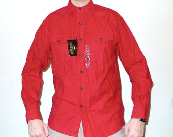 Vintage Deadstock RED HEAD Flannel Button Up Shirt M