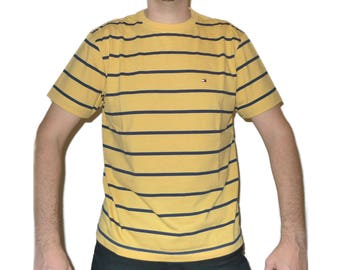 Vintage 1990s TOMMY HILFIGER Yellow & Blue Striped T-shirt M