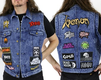 Acid Wash Denim Battle Vest Encrusted w/ Patches: Dio, Motorhead, White Zombie, Black Sabbath, King Diamond, Venom, Carcass, Death & More!