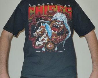 Vintage 1990s NFL Kansas City CHIEFS + Tasmanian Devil / Looney Tunes Jostens Sportswear T-Shirt XL