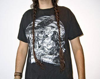 Insane Native American Indian Navajo Black Tshirt Large with Two Wolves, Eagle, Dreamcatcher, Pocahontas and some Feathers