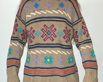 Vintage Heather & Tweed Hand-Knitted Patterned Oversized Sweater