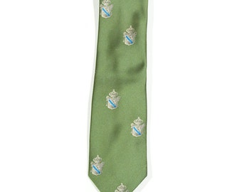 Vintage 1970s Green Necktie with Crests / Coat of Arms