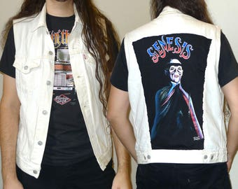 Levi's White Denim Jacket Vest - Peter Gabriel era GENESIS Backpatch