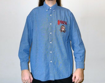 Vintage 1990s Long Sleeve Denim WB Warner Bros Studio Store Looney Tunes Taz Button Up Shirt