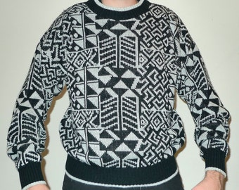 Vintage Memphis Geometric Pattern Black & White Knit Sweater Oakton L