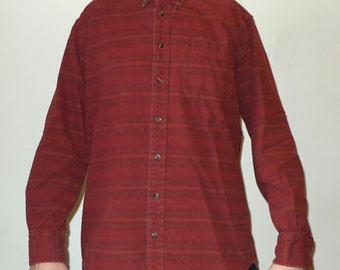 Vintage CABELA'S Printed Striped Chamois Flannel Shirt Tall M