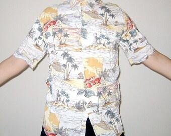 Vintage Hawaiian Shirt Island Villages Motif