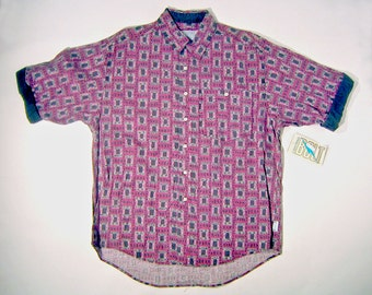 Vintage 1990s Half Sleeve LIGHTNING BOLT Brand Purple Button Up Shirt Size L