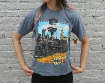 Vintage Nevada Northern Railway Company: The Ely Route 'Safety First' T-Shirt w/ Locomotive YL