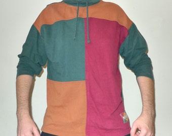 Vintage GITANO Postmodern Geometric Pattern w/Bold Earthtones Sweatshirt / Mock Hoodie