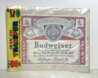 True Vintage Budweiser Logo Beer Iron On Original 1970s by Becker