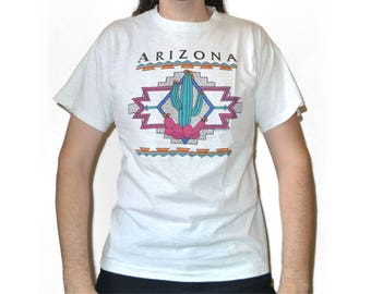 Vintage Tri Blend Navajo Patterned Arizona T-shirt with Cacti / Cactus M