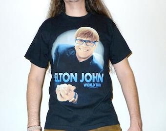 ELTON JOHN: Made in England World Tour T-shirt Size L True Vintage 1990s