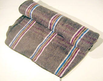 Flannel Blanket Grey & Purple Stripes