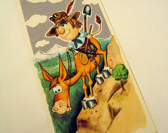"Cowboy on a Mule Vintage Illustration Greeting Card ""You Got the Ass for it!"" Happy Birthday"