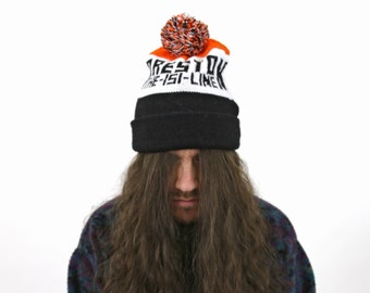 True Vintage Large Knit Ski Cap Orange & Black - Preston Fishing Reel Line