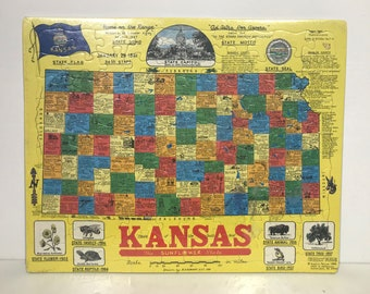 1988 Vintage KANSAS Frame Tray Puzzle by SCROGIN Map Art 20x16 New NOS Sealed