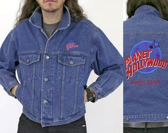 True Vintage 1990s PLANET HOLLYWOOD Denim Jacket Embroidered