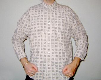 Vintage 1990s CHAPS Ralph Lauren Khaki Long Sleeve Button Up Shirt M Nautical Flag Print