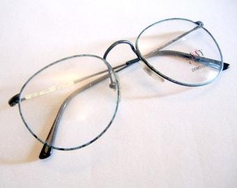 Vintage Savvy Eyes 1990s Deadstock Eyeglasses Frames Turquoise Tortoise Shell Wire Rimmed Glasses