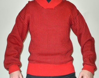 Mens Vintage Nordic Fisherman Chunky Knit Winter Sweater by Petersen & Dekke sz L, Red