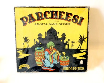 Vintage PARCHEESI Board Game - Royal Game of India, Junior Edition