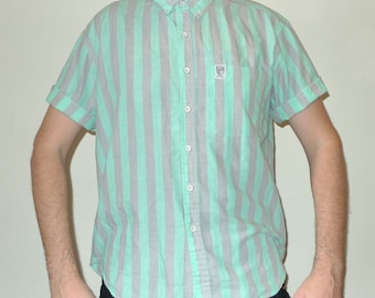 Vintage 1990s Half Sleeve BRITTANIA Seafoam & Grey Striped Button Up Shirt L