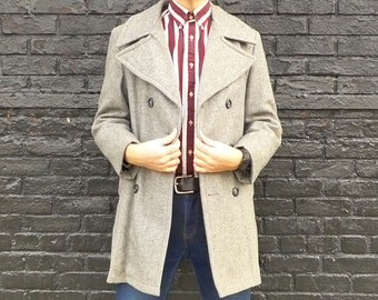 Vintage Grey Navy Style Peacoat - Captains Double Breasted Jacket
