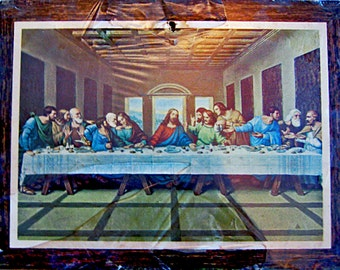 Vintage The Last Supper Print, Framed Still in the Plastic