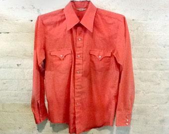 Vintage Southwestern Snap Shirt Western Wear Coral / Salmon Unisex