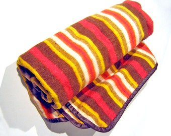 Vintage Earth Tones Striped Blanket