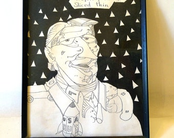 """Psychedelic Found Art - Framed Line Drawing - """"Majority on Rye Sliced Thin"""""""