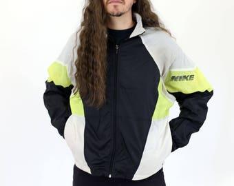 True Vintage NIKE Black, White & Neon Yellow Warm Up / Zip Up Light Windbreaker Hooded Jacket M