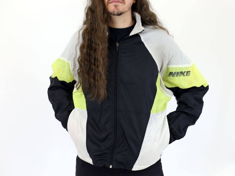 1a8d41715f65 True Vintage NIKE Black White   Neon Yellow Warm Up   Zip Up