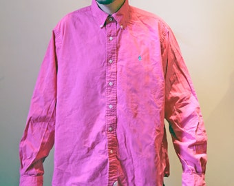 Pink Vintage 1990s Size XL Ralph Lauren Button Up Shirt