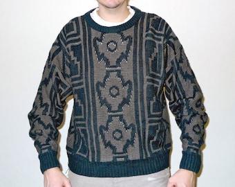 Vintage Navajo / Memphis / Native American Pattern Knit Sweater Black & Golden Brown