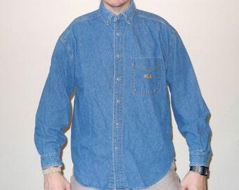 Vintage 1990s Long Sleeve FILA Denim Button Up Shirt