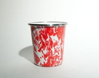 Vintage Metal Enameled Marblized Red & White Cup