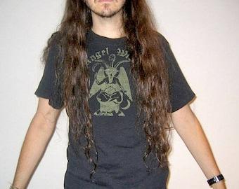 SALE Angel Witch Pentagram Baphomet Black T-shirt Death Metal Occult