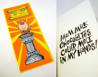 Vintage Illustration Fuzzy Valentine's Day Card 1960s - 1970s - When I think of you, M&Ms could melt in my hands!