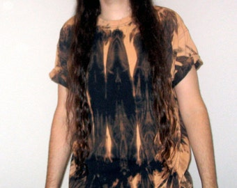 Awesome Patterned Oversized Bleached Out Tie Dye Black T-shirt