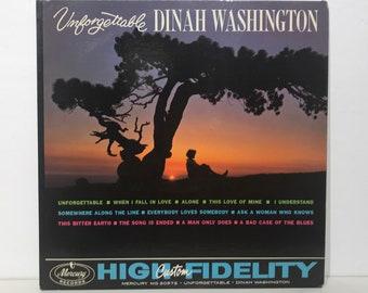 "Dinah Washington: Unforgettable – Vintage Vinyl LP Record 12"" (1961)"